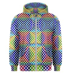 Colorful Circle Abstract White  Blue Yellow Red Men s Zipper Hoodie by BrightVibesDesign