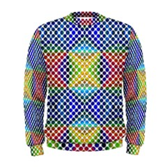 Colorful Circle Abstract White  Blue Yellow Red Men s Sweatshirt by BrightVibesDesign
