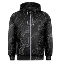 Black Topographyc Map Men s Zipper Hoodie by goljakoff