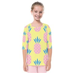 Summer Pineapple Seamless Pattern Kids  Quarter Sleeve Raglan Tee by Sobalvarro