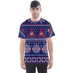 Beautiful Knitted Christmas Pattern Men s Sports Mesh Tee