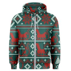Beautiful Knitted Christmas Pattern Men s Zipper Hoodie