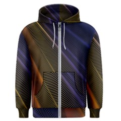 Rainbow Waves Mesh Colorful 3d Men s Zipper Hoodie