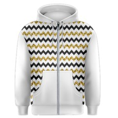 Black And Gold Glitters Zigzag Retro Pattern Golden Metallic Texture Men s Zipper Hoodie by genx
