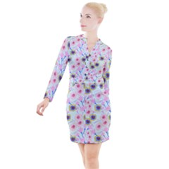 Vibrant Garden Button Long Sleeve Dress by printondress