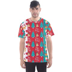 Funny Christmas Pattern Hohoho Men s Sports Mesh Tee
