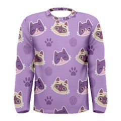 Cute Colorful Cat Kitten With Paw Yarn Ball Seamless Pattern Men s Long Sleeve Tee