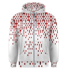 Red And White Matrix Patterned Design Men s Zipper Hoodie