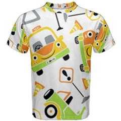 Seamless Pattern Vector Illustration Vehicles Cartoon Men s Cotton Tee