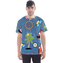 Seamless Pattern With Sailing Cartoon Men s Sport Mesh Tee