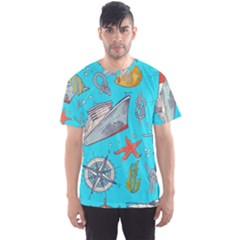 Colored Sketched Sea Elements Pattern Background Sea Life Animals Illustration Men s Sport Mesh Tee