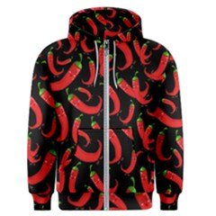 Seamless Vector Pattern Hot Red Chili Papper Black Background Men s Zipper Hoodie by BangZart