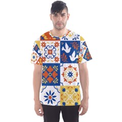 Mexican Talavera Pattern Ceramic Tiles With Flower Leaves Bird Ornaments Traditional Majolica Style Men s Sport Mesh Tee