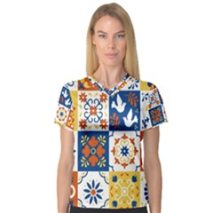 Mexican Talavera Pattern Ceramic Tiles With Flower Leaves Bird Ornaments Traditional Majolica Style V-neck Sport Mesh Tee