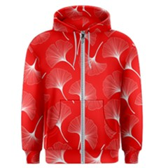 White Abstract Flowers On Red Men s Zipper Hoodie