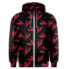 Red, Hot Jalapeno Peppers, Chilli Pepper Pattern At Black, Spicy Men s Zipper Hoodie by Casemiro