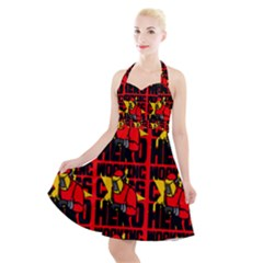Working Class Hero - Welders And Other Handymen Are True Heroes - Work Halter Party Swing Dress  by DinzDas