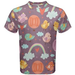 Cute-seamless-pattern-with-doodle-birds-balloons Men s Cotton Tee