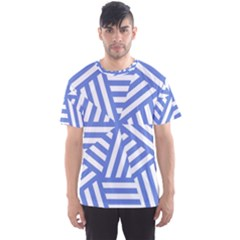 Geometric Blue And White Lines, Stripes Pattern Men s Sport Mesh Tee