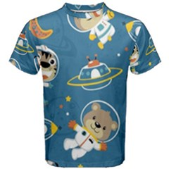 Seamless Pattern Funny Astronaut Outer Space Transportation Men s Cotton Tee