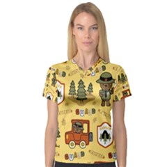 Seamless Pattern Funny Ranger Cartoon V-neck Sport Mesh Tee