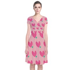 Hearts Short Sleeve Front Wrap Dress