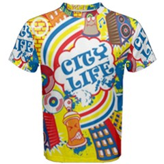 Colorful City Life Horizontal Seamless Pattern Urban City Men s Cotton Tee
