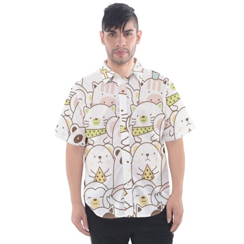 Cute-baby-animals-seamless-pattern Men s Short Sleeve Shirt by Sobalvarro