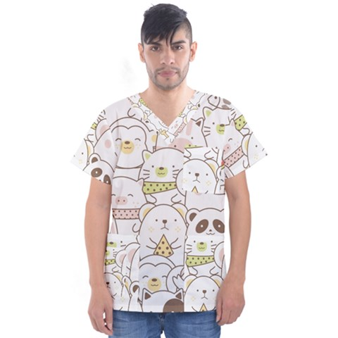 Cute-baby-animals-seamless-pattern Men s V-neck Scrub Top by Sobalvarro