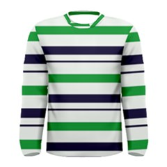 Green With Blue Stripes Men s Long Sleeve Tee by tmsartbazaar