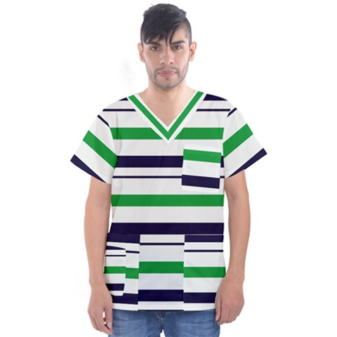 Green With Blue Stripes Men s V-neck Scrub Top by tmsartbazaar