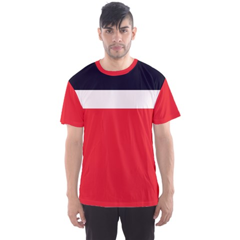 Navy Blue With Red Men s Sport Mesh Tee by tmsartbazaar