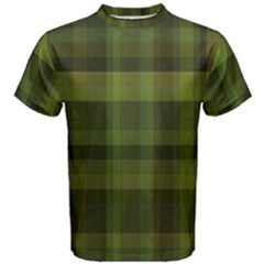 Army Green Color Plaid Men s Cotton Tee
