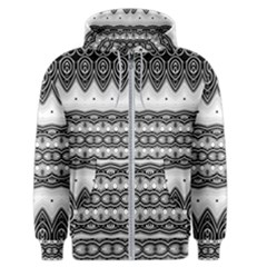 Boho Black And White  Men s Zipper Hoodie by SpinnyChairDesigns