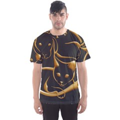 Gold Dog Cat Animal Jewel Men s Sport Mesh Tee