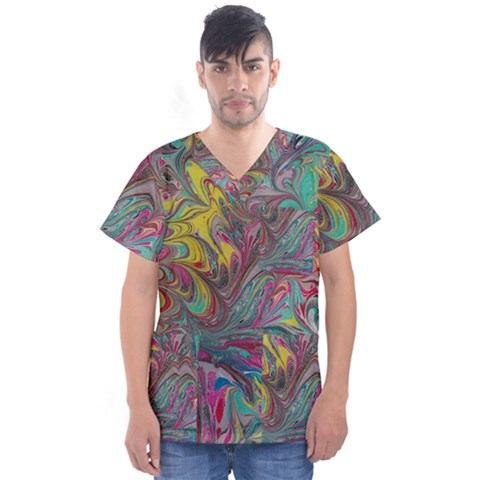 Abstract Marbling Men s V-neck Scrub Top by meanmagentaphotography