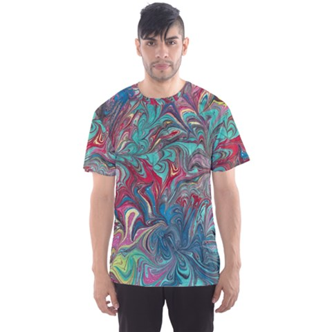 Psychedelic Marbling Patterns Iv Men s Sport Mesh Tee by meanmagentaphotography