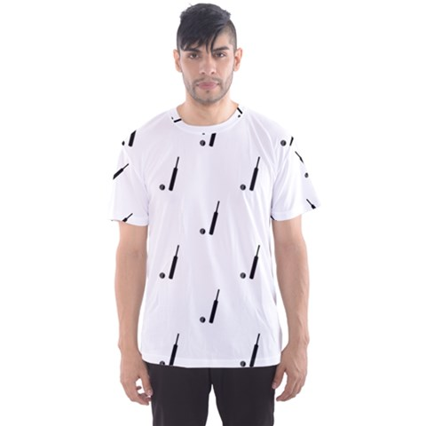 Black And White Cricket Sport Motif Print Pattern Men s Sport Mesh Tee by dflcprintsclothing