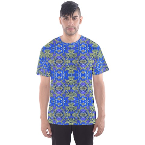 Gold And Blue Fancy Ornate Pattern Men s Sport Mesh Tee by dflcprintsclothing
