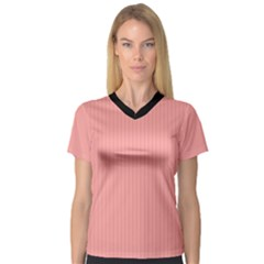 Candlelight Peach - V-neck Sport Mesh Tee