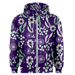 Floral Blue Pattern  Men s Zipper Hoodie