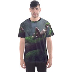 Wooden Child Resting On A Tree From Fonebook Men s Sport Mesh Tee