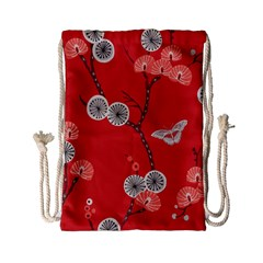 Dandelions Red Butterfly Flower Floral Drawstring Bag (small)
