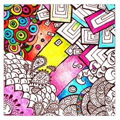 Beautiful Colorful Doodle Large Satin Scarf (square) by Nexatart
