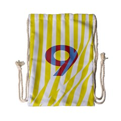 Number 9 Line Vertical Yellow Red Blue White Wae Chevron Drawstring Bag (small)
