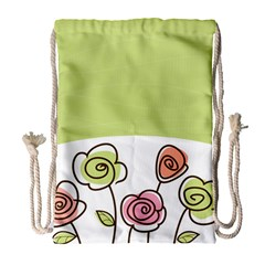 Flower Simple Green Rose Sunflower Sexy Drawstring Bag (large)
