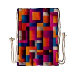 Abstract Background Geometry Blocks Drawstring Bag (Small) Front
