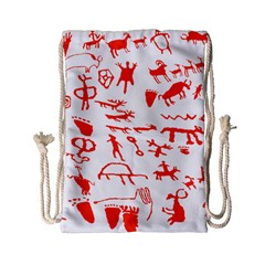 Petroglyph Art Symbols Art Rock Drawstring Bag (small)