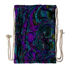 Purple Teal Abstract Jungle Print Pattern Drawstring Bag (large)