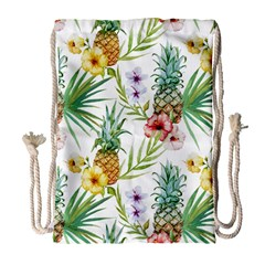 Tropical Pineapples Drawstring Bag (large)